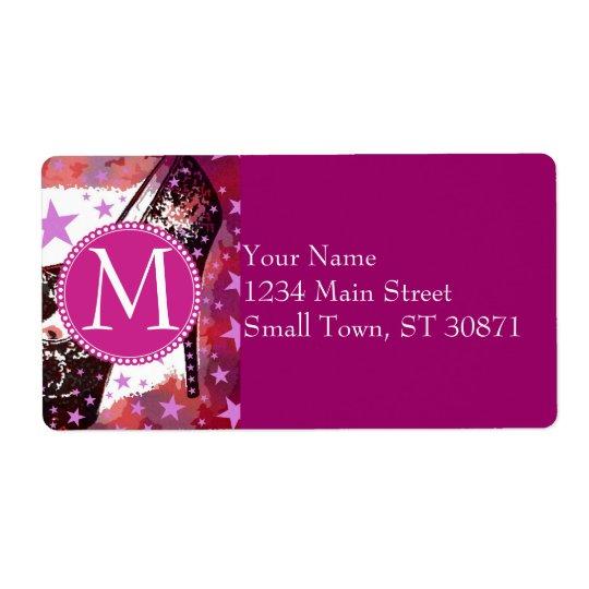 Fabulous Glamourous Pink Purple High Heels Stars Label