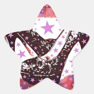 Fabulous Glamourous Pink Purple High Heels Stars Star Sticker