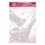 Fabulous Glamourous Pink Purple High Heels Stars Stationery