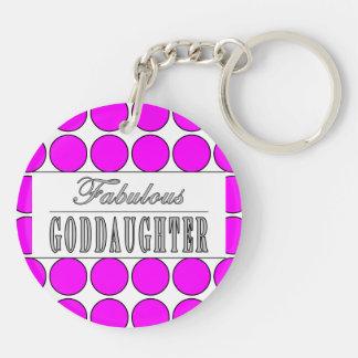 Fabulous Goddaughter Pink Polka Dots on White Acrylic Key Chain