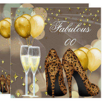 Fabulous Gold Beige Leopard Champagne Party Card