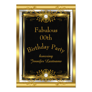 Fabulous Gold Black Birthday Party Invitation