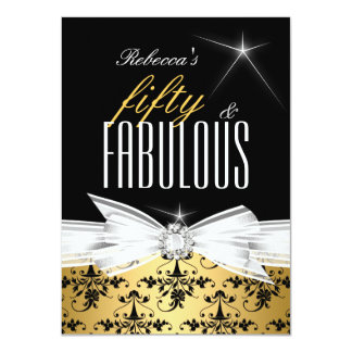 Fabulous Gold Black Damask 50th Birthday Party Card