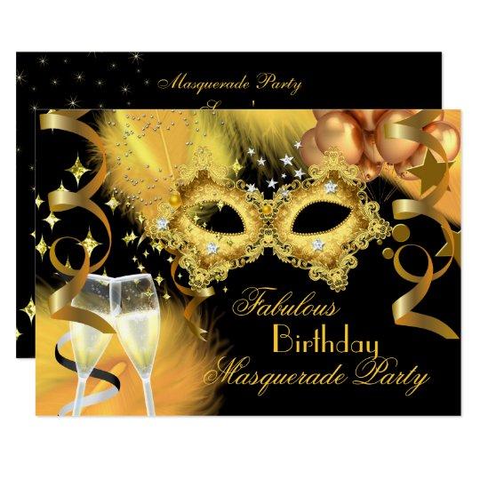 Fabulous Gold Black Masquerade Birthday Party Invitation Zazzle Com