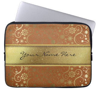Fabulous Gold Glitter & Gradient Floral Pattern Laptop Computer Sleeves