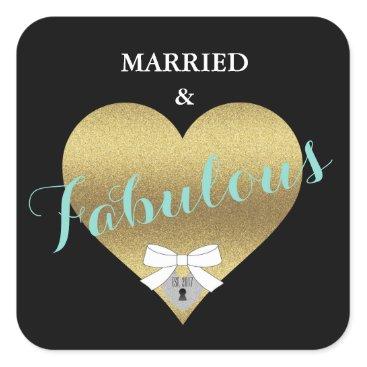 McTiffany Tiffany Aqua Fabulous Gold Heart Tiffany Party Stickers