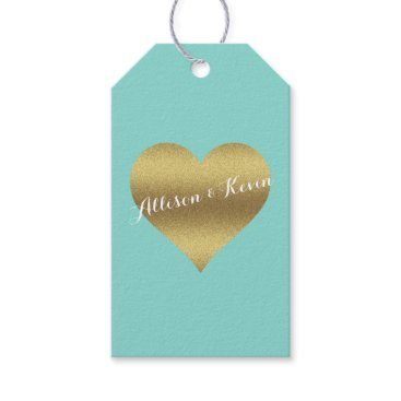 McTiffany Tiffany Aqua Fabulous Gold Heart Tiffany Teal Blue Gift Tags