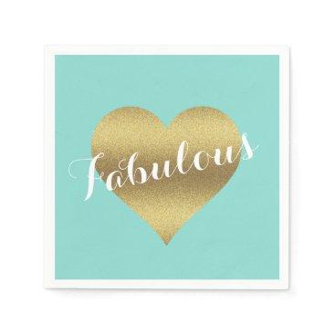 Fabulous Gold Heart Tiffany Teal Blue Napkins