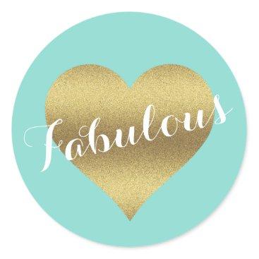 McTiffany Tiffany Aqua Fabulous Gold Heart Tiffany Teal Blue Stickers