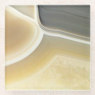 Fabulous Gray Cream Agate Gemstone Pattern Glass Coaster