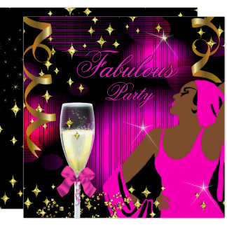 Fabulous Hot Pink Glitter Diva Birthday Card