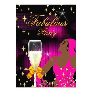 Fabulous Hot Pink Glitter Diva Birthday Party Card