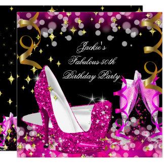 Fabulous Hot Pink Glitter High Heel 50th Birthday Card