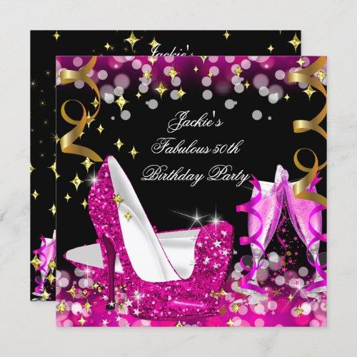 Fabulous Hot Pink Glitter High Heel 50th Birthday Invitation