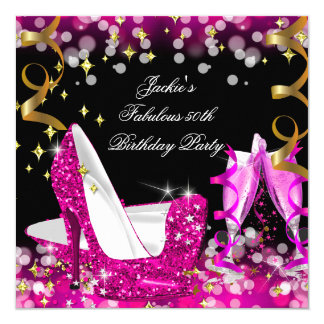 Fabulous Hot Pink Glitter High Heel 50th Birthday 5.25x5.25 Square Paper Invitation Card