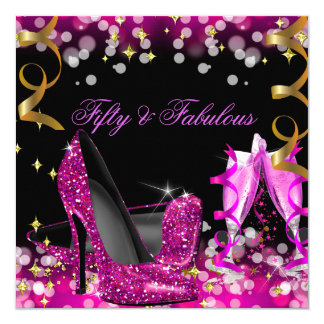 Fabulous Hot Pink Glitter High Heel Birthday Party Card
