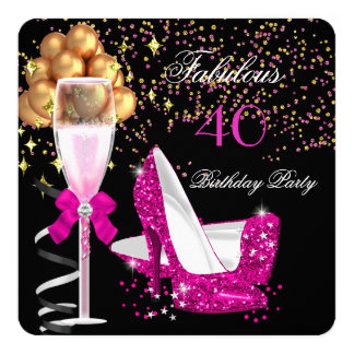Fabulous Hot Pink Heels Gold Black Birthday Party Card