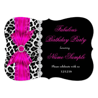 Fabulous Hot Pink Leopard Birthday Party Black Card