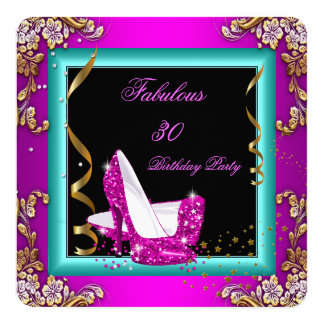 Fabulous Hot Pink Teal Glitter Gold Birthday Party Card