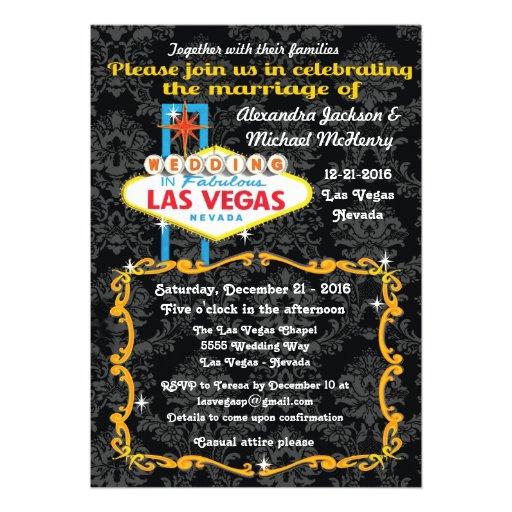 Fabulous Las Vegas Damask Wedding Invitations