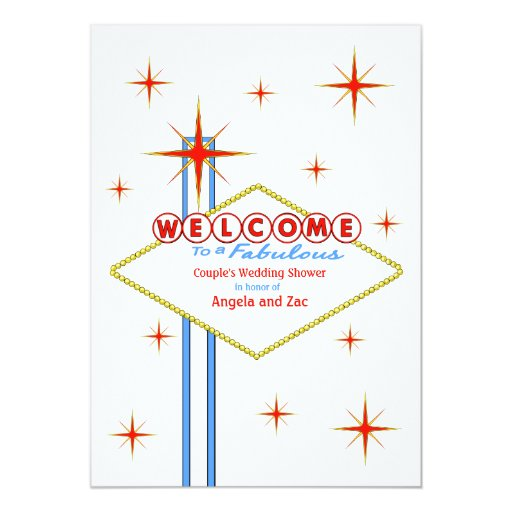 "Fabulous Las Vegas Sign Wedding Shower Invitation 5"" X 7"" Invitation Card"