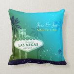 """Fabulous Las Vegas Wedding Couple Keepsake Throw Pillow<br><div class=""""desc"""">Famous Las Vegas street sign, lovely palm trees and starry teal & moss green sky illustrated on custom Cushions. Easy to personalize the sample text with your own wording to create a stylish & whimsical wedding, engagement, bridal shower, bachelorette party or anniversary gift! ((You can find the matching wedding essentials...</div>"""