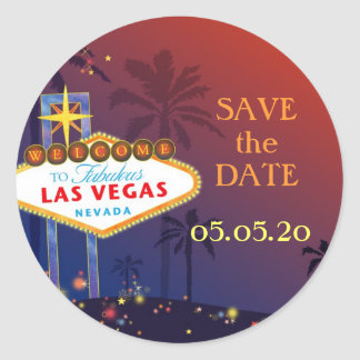 Fabulous Las Vegas Wedding Save the Date Classic Round Sticker