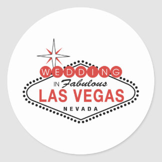 Fabulous Las Vegas Wedding Template Customizable Classic Round Sticker