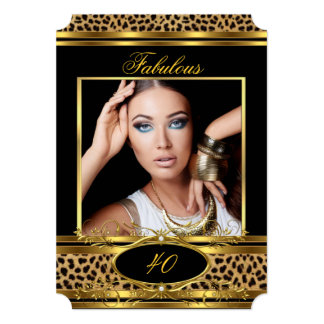 Fabulous Leopard Birthday Party Black Gold Photo 5x7 Paper Invitation Card
