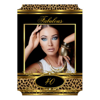 Fabulous Leopard Birthday Party Black Gold Photo Personalized Invitation