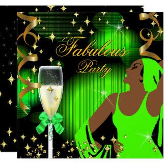 Fabulous Lime Green Glitter Diva Birthday Card
