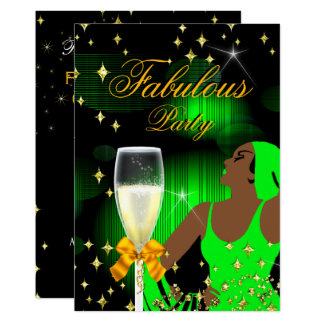 Fabulous Lime Green Glitter Diva Birthday Party Card