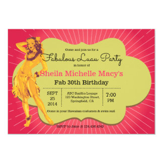 Fabulous Luau Party Retro Style Pinup Card
