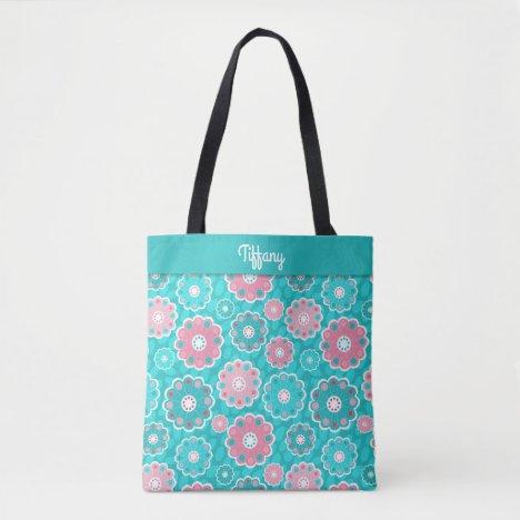 Fabulous modern pink aqua floral monogram tote bag