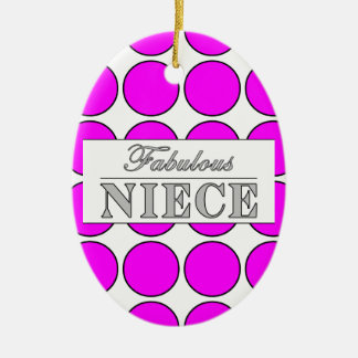 Fabulous Niece Pink Polka Dots on White Christmas Tree Ornament