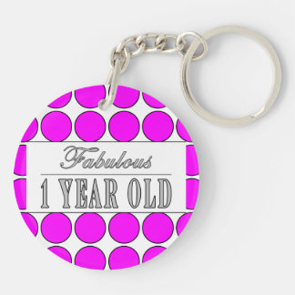 Fabulous One Year Old Pink Polka Dots on White Double-Sided Round Acrylic Keychain