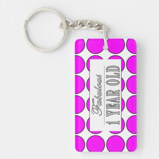 Fabulous One Year Old Pink Polka Dots on White Single-Sided Rectangular Acrylic Keychain