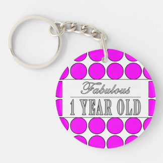 Fabulous One Year Old Pink Polka Dots on White Single-Sided Round Acrylic Keychain