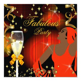 Fabulous Orange Yellow Glitter Diva Birthday Card