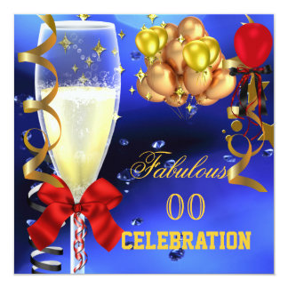 Fabulous Party Red Gold Blue Birthday Party 5.25x5.25 Square Paper Invitation Card