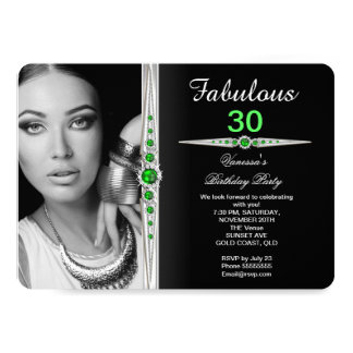 Fabulous Photo Birthday Party Lime Green Black 2 Card