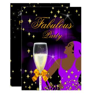 Fabulous Purple Glitter Diva Birthday Party Card