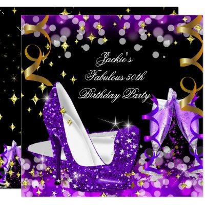 50 And Fabulous Purple Balloons Birthday Card Zazzle