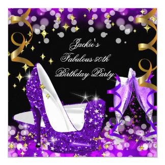 Fabulous Purple Glitter High Heel 50th Birthday Card