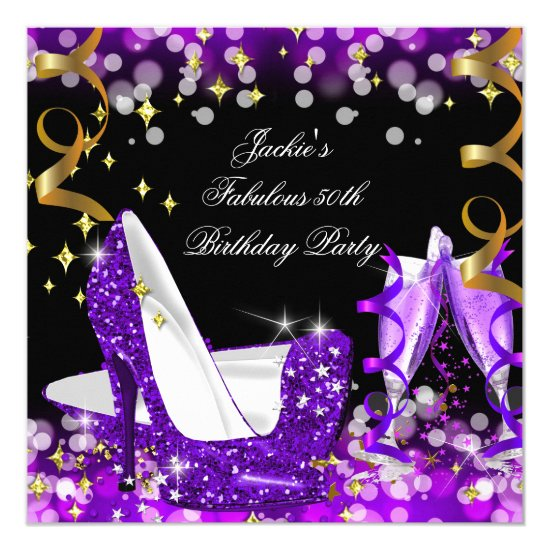 Fabulous Purple Glitter High Heel 50th Birthday Card