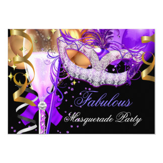 Fabulous Purple Gold Black Masquerade Party 3 5x7 Paper Invitation Card