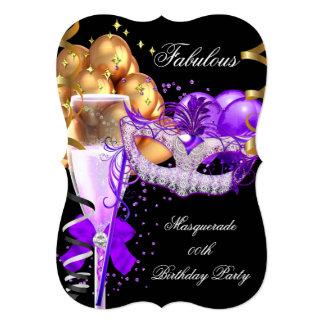 Fabulous Purple Gold Black Masquerade Party 4 5x7 Paper Invitation Card