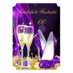 Fabulous Purple High Heels Champagne Party 2 5x7 Paper Invitation Card