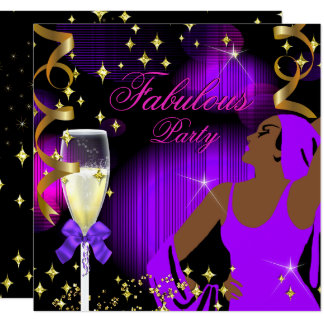 Fabulous Purple Hot Pink Glitter Diva Birthday Card