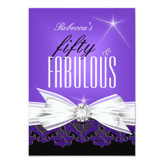 Fabulous Purple Lace Black 50th Birthday Party 2 Card